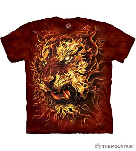 The Mountain Fire Tiger Adult T-Shirt, Red, 5XL