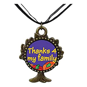 Chicforest Bronze Retro Style Thanks 4 My Family The Tree Of Life And Wishing Pendant