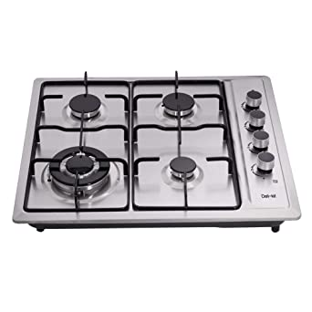 Deli-Kit DK223-B01 12 inch gas cooktop gas hob stovetop 2 burners LPG//NG Dual Fuel 2 Sealed Burners brass burner Stainless Steel Built-In gas hob 110V AC pulse ignition gas cooktop gas stove