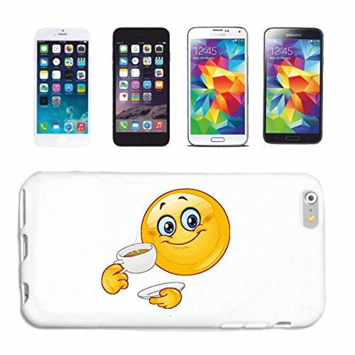 "cas de téléphone iPhone 7+ Plus ""SMILEY LE PETIT CAFÉ ""SMILEYS SMILIES ANDROID IPHONE EMOTICONS IOS grin VISAGE EMOTICON APP"" Hard Case Cover Téléphone Covers Smart Cover pour Apple iPhone en blanc"