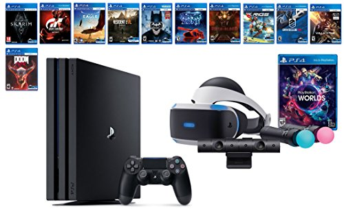 PlayStation VR Deluxe Collection Bundle (14 Items): VR Starter Bundle, PS4 Pro 1TB,12 VR Game Disc: Skyrim, Doom VFR, Gran Turismo Sport, Batman, Resident Evil, Rush of Blood,Valkyrie and More