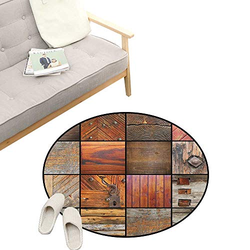 Coastal Chocolate Mint - Antique Round Carpet ,Collection of Different Wooden Architecture Elements Timber Door Key Print, Kids Room Bedroom Bedside Rug 23
