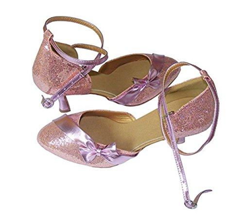 Pobofashion Moderne Tanzschuhe Damen mit rosa Glitzer und glänzender Schleife Rosa