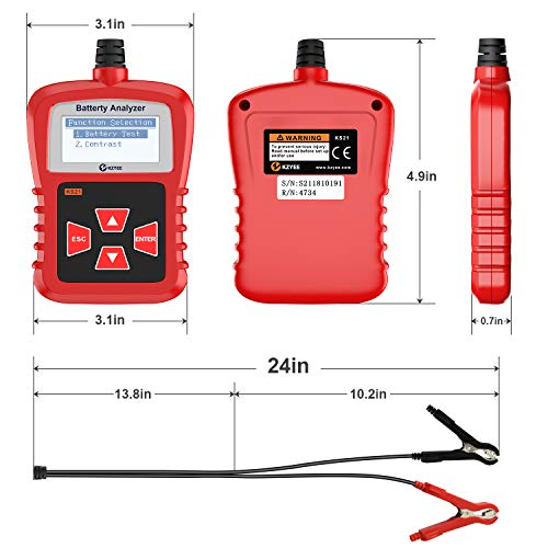 Kzyee KS21 Car Battery Tester, Automotive 100-1700 CCA 12V Battery Load Tester Cranking and Charging System Diagnostic Tool Digital Battery Analyzer by Kzyee (Image #6)