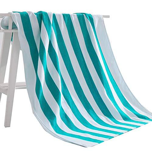 - Exclusivo Mezcla 100% Cotton Cabana Striped Beach Towel Caribbean Blue and White (30