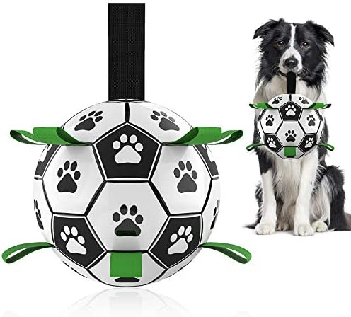 Dog Toys Soccer Ball with Grab Tabs, Interactive Dog Toys for Tug of War, Dog Tug Toy, Dog Water Toy, Durable Dog Balls for Small & Medium Dogs(6 Inch)