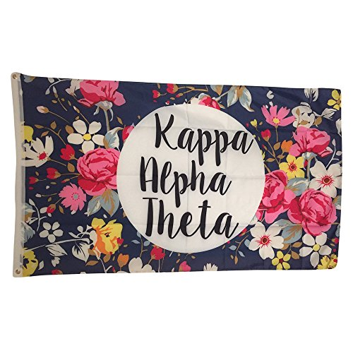 Kappa Alpha Theta Floral Pattern Letter Sorority Flag Greek Letter Use as a Banner Large 3 x 5 Feet Kappa Alpha Theta Merchandise