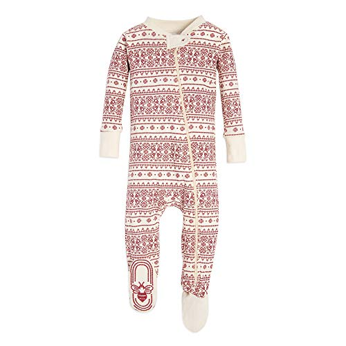 Burt's Bees Baby Baby 1-Pack Unisex Pajamas, Zip-Front Non-Slip Footed Sleeper PJs, Organic Cotton, Ivory/Red Fair Isle, 12 Months