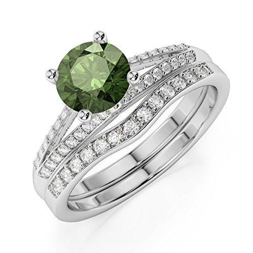 Or blanc 18carats 1CT G-H/VS sertie de diamants ronds Cut Tourmaline verte et de mariage Bague de fiançailles et ensemble de Agdr-2037