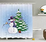 Snowman Shower Curtain Christmas Shower Curtain by Ambesonne, Snowman in the Winter with Mistletoe Present Top Hat and Scarf Tree and Bird, Fabric Bathroom Decor Set with Hooks, 70 Inches, Blue Green