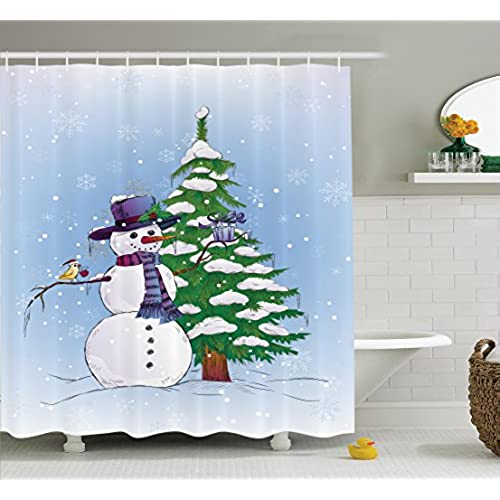 Christmas Decorations Shower Curtain Set By Ambesonne Snowman In Winter With Mistletoe Gift Box Top Hat And Scarf Xmas Tree Bird Bathroom Accessories