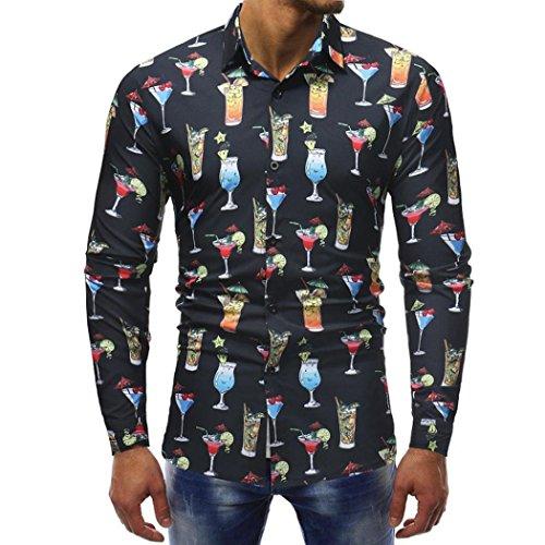 Sunhusing Fashion Mens Print Slim T-Shirt Tops Casual Long Sleeve Shirt Office Work Shirt -