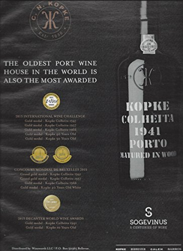 MAGAZINE ADVERTISEMENT For Kopke Port Wine: Most Awarded