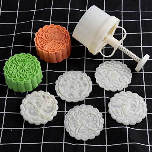 180g 5pcs Cookie Stamps Thickness Adjustable Moon Cake Mold Set, Cookie Press DIY Decoration Hand Press Cutter Cake Dessert Mold