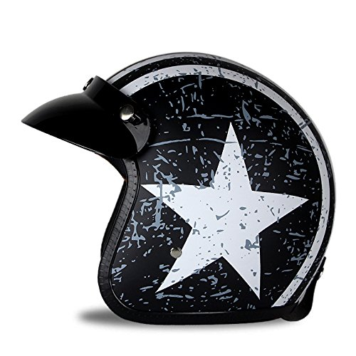 Woljay 3//4 Open Face helmet Motorcycle Helmet Flat with Rebel Star Graphic White M Black