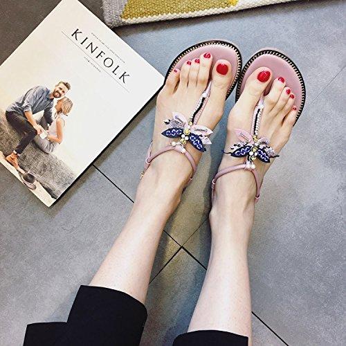 New Products Diamond Rivets Toe Sweet Sandals Women's Jewel Strap Big T JUWOJIA Sandals pink Summer EOPn5