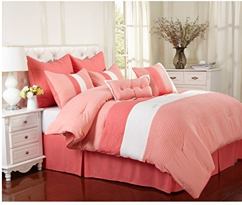 8 Piece Vibrant Stripe Pattern Comforter Set Cal King Size, Featuring Bold Color Block Solid Design Comfortable Bedding, Stylish Contemporary Trendy Chic Girls Teens Bedroom Decor, Pink, White, Multi ()