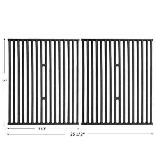 Hisencn Set of 2 Matte Cast Iron Cooking Grid Replacement for Broil King 9865-54, 9221-64, Broil-Mate 165154, Huntington and Sterling Gas Grill Models, 15