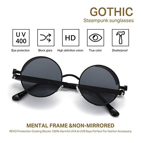 LOOKEYE Retro Round Steampunk Sunglasses Gothic Hippie Shades Metal Mirrored 4