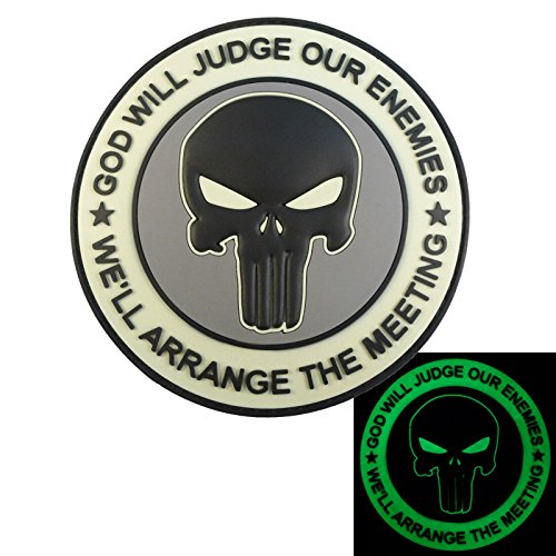 - LEGEEON ACU GOD WILL JUDGE OUR ENEMIES Glow Dark Punisher DEVGRU Navy Seals PVC Touch Fastener Patch