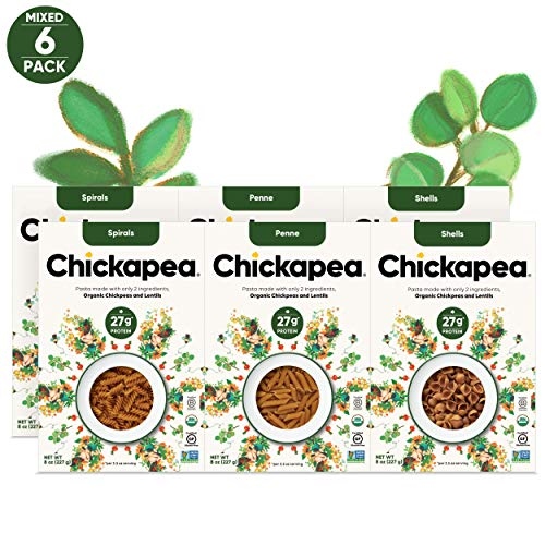 Chickapea Organic Chickpea Lentil Pasta - Variety Pack - High Protein Gluten...