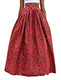 Pandapang Womens Africa Folk Print High Rise Dashiki Swing Flare Maxi Skirt Red L