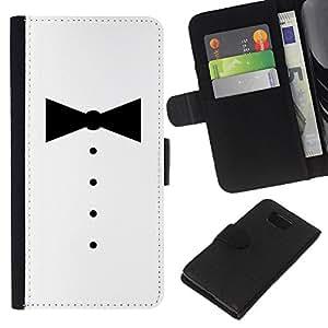 KLONGSHOP // Tirón de la caja Cartera de cuero con ranuras para tarjetas - MINIMALISTA SMOKING BOWTIE - Samsung ALPHA G850 //