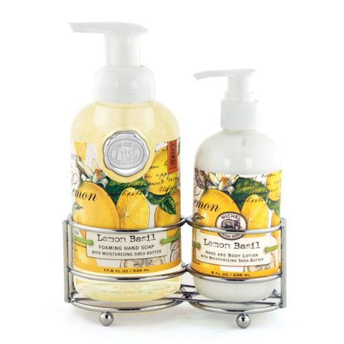 Michel Design Works Foaming Hand Soap and Lotion Caddy Gift Set, Lemon Basil (Hand Soap And Lotion Set)