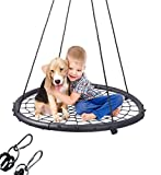 "LaTazas Extra Large 40"" Diameter Kids Web Net Swing Height Adjustable, Easy Installation Tree Swing Set for Playground Indoor and Outdoor(Including 2 Carabiners Free)"
