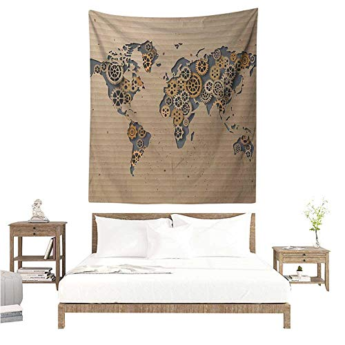 WilliamsDecor Polyester Tapestry Modern Ancient Old Hipster Contemporary Image of World Map with Clock Wheel Art Print 60W x 80L INCH Suitable for Bedroom Living Room ()