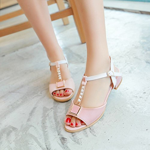 Open Flats Charm Low Foot Heel Womens Toe T Pink strap Sandal xYAUHq4Aw