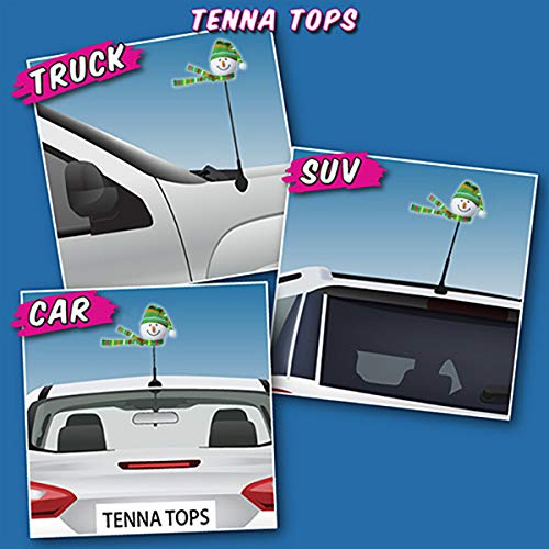 Tenna Tops Snowman Winter Hat and Scarf Car Antenna Topper Mirror Dangler Antenna Ball Desktop Spring Stand