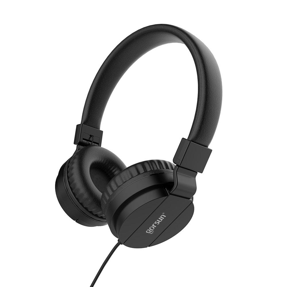 gorsun Headphones, Lightweight Stereo Foldable Wired Headphones for Kids Adults Adjustable Headband Headset for Cellphones Smartphones iPhone Laptop Computer Mp3/4 Earphones(Black)