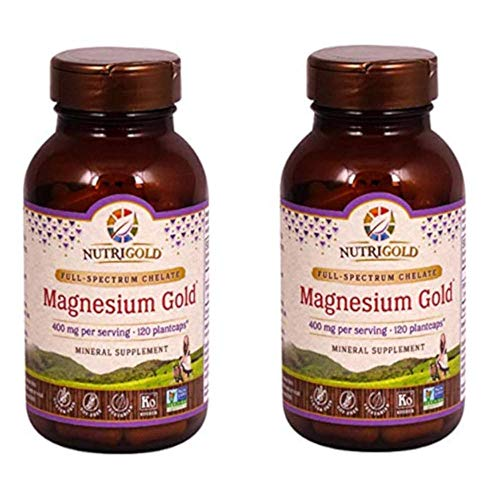 Magnesium Gold - Nutrigold Magnesium Gold Full-Spectrum Chelate for Healthy Bones, Cardiovascular and Cognitive Function (120 Veggie Capsules) Pack of 2