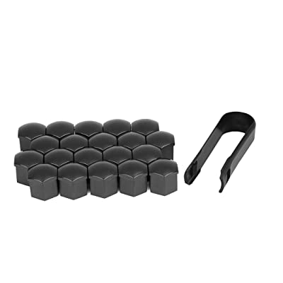 X AUTOHAUX 20pcs 19mm Univesal Black Plastic Car Wheel Nut Lug Hub Screw Rim Bolt Covers Dust Protection Caps with Removal Tool Clip: Automotive