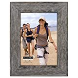 Malden Rustic Fashion Wide Linear Wooden Picture Frame, 5-Inch X 7-Inch, Gray