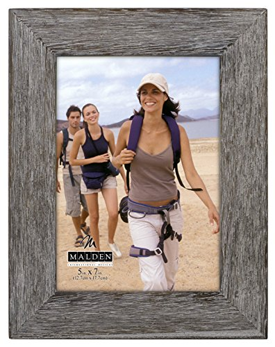 Malden International Designs Rustic Fashion Wide Linear Graywash Wooden Picture Frame, 5x7, Gray
