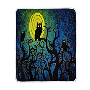 ALAZA Home Decor Halloween Night Owl Moon Soft Warm Blanket for Bed Couch Sofa Lightweight Travelling Camping 60 x 50 Inch Throw Size for Kids Boys Women