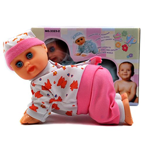 Kids Toy Makaor 10inch Lovely Baby Infant Electric Music Crawling Baby Talking Singing Dancing Doll Early Learning Toy Education Toys-Pink Baby (Colorful, Size:13.5cmx 8.5cmx ()