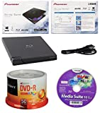 Pioneer 6x BDR-XD05B Ultra Lightweight External Blu-ray BDXL Burner, Cyberlink Software and USB Cable Bundle with 50pk DVD-R Sony Accucore 4.7GB 16X White Inkjet Printable