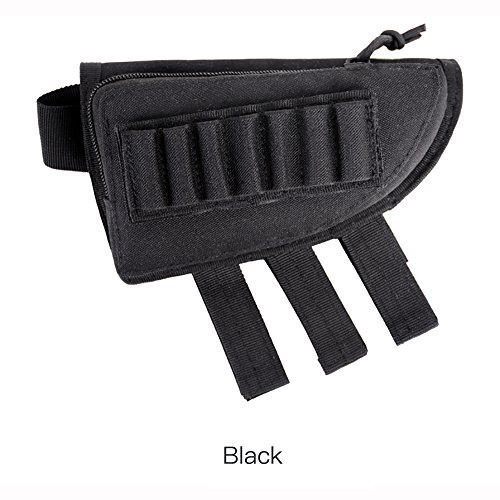 Black Pistol Belt Extenders - Vivian Goldd Tactical Buttstock Pouch Shotgun Shell Holder Ammo Pouch Cheek Pad Adjustable Rifle Cheek Rest Pouch Holder and Zippered Utility Pouch