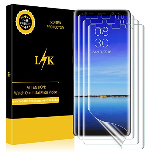 LK [3 Pack] Screen Protector for Samsung Galaxy Note 8, Liquid Skin [Full Coverage] [Case Friendly] HD Clear Anti-Bubble Film with Lifetime Replacement Warranty