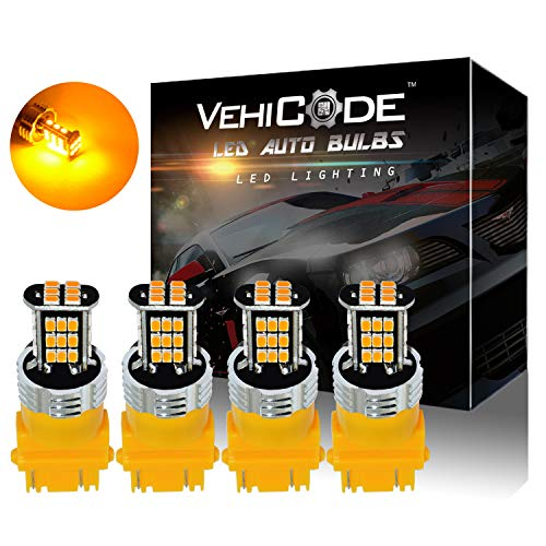 VehiCode Super Bright 1200 Lumens 3157 (3156/3457/3057/4157/4114) LED Light Bulb (Amber/Yellow) Dual Function Replacement for Turn Signal, Side Marker Lights (4 Pack)