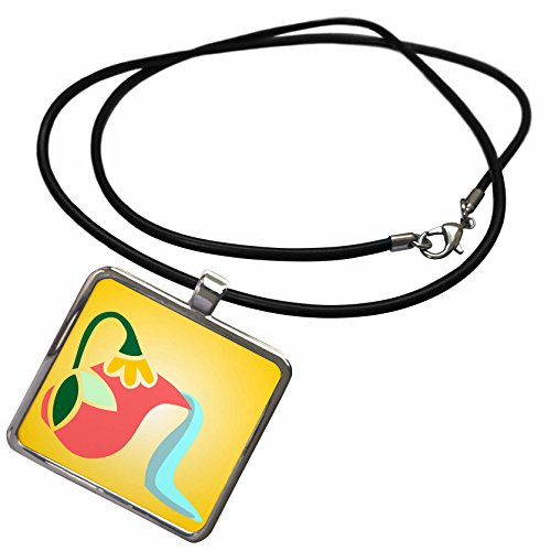 3dRose TNMGraphics Food and Drink - Flowered Greek Pitcher Pouring Water - Necklace with Rectangle Pendant (ncl_222927_1)