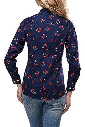 des Floraux Tee Longues Shirt Ralentissement Navy Col Motifs Manches Vemubapis Cerises aOYgWWIA