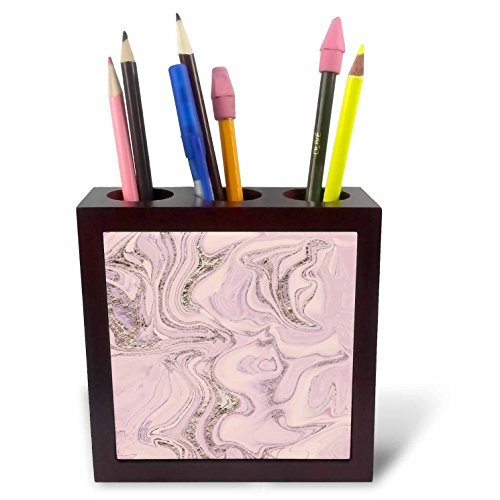 3dRose Andrea Haase Glamour and Glitter - Image of Glamorous Elegant Pink Marble With A Touch Of Glitter - 5 inch tile pen holder ()