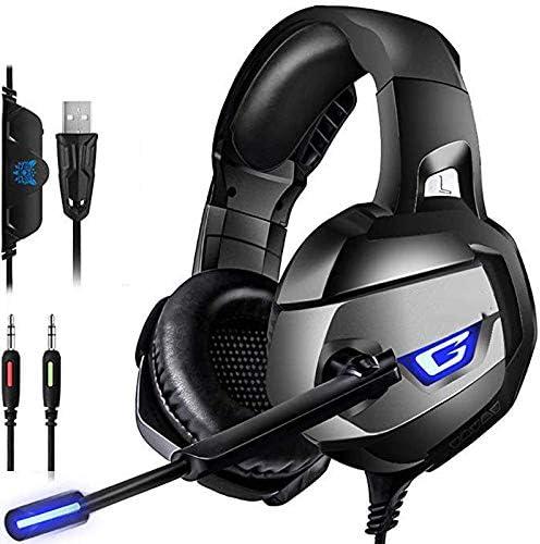 ゲーミングヘッドセット、ラップトップ、タブレットゲーマーオーバーイヤーヘッドフォン用7.1サラウンドサウンドマイク有線PCヘッドフォン,黒