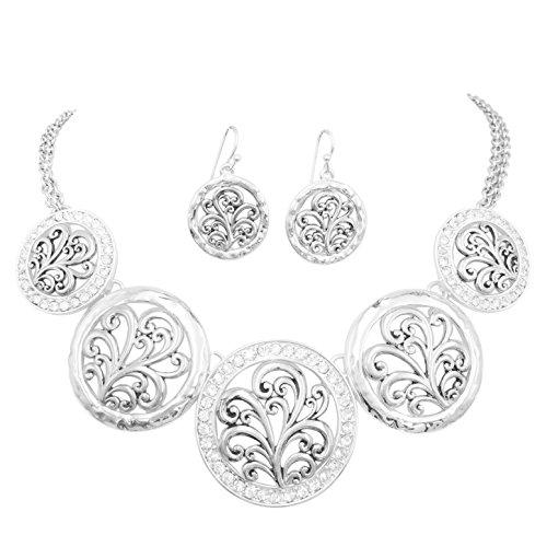 5 Disk Filigree Wave Swirl Bib Statement Necklace & Dangle Earring Set (Silver Tone with - Wave Filigree