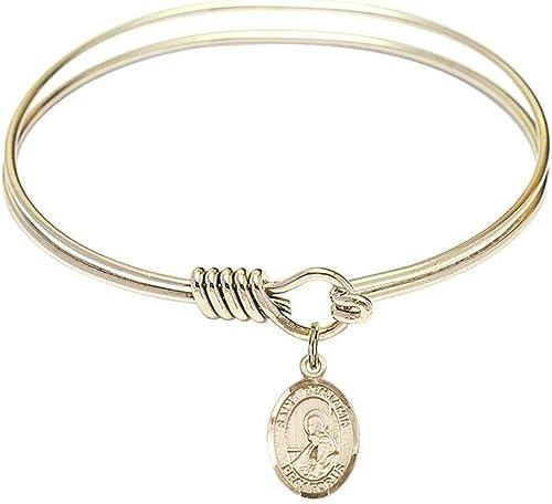 Benjamin Charm On A 6 1//4 Inch Round Eye Hook Bangle Bracelet St