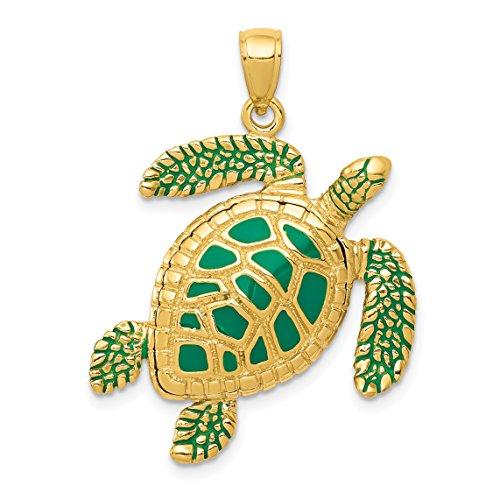 Mireval 14k Yellow Gold 3-D Enameled Sea Turtle Pendant (24 x 33 mm) ()